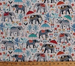 Cotton Elephants Indian Elephants Umbrellas Floral Flowers India Animals Middle Eastern Asian Orient Allover on Ivory Cotton Fabric Print by the Yard (FUN-C7220)