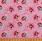 Cotton Disney Princess Ariel Fairytale Mermaid Discover Your Dreams Pink Cotton Fabric Print by the Yard (65367-C470715)