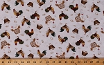 Cotton Chickens Rooster Eggs Farm Farming Country Animals Birds Chick Hen Count Your Blessings Cream Cotton Fabric Print by the Yard (2355-33)