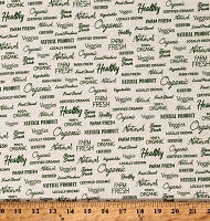 Cotton Farm Fresh 100% Organic Local Produce Veggies Natural Product Locally Grown Healthy Certified Delicious Cream Cotton Fabric Print by the Yard (52446-1)