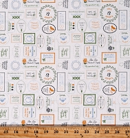 Cotton Stamps Companies Produce Groceries Brands Spring Brook White Cotton Fabric Print by the Yard (29115-31)