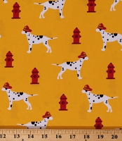 Cotton Fire Pups Dalmations Firefighting Dogs Fire Hyrants on Yellow Cotton Fabric Print by the Yard (AWN-18272-5YELLOW)