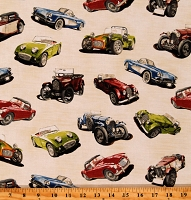 Cotton Classic Cars Retro Vintage Automobiles Model T Panther De Ville Classic Cruisers Cream Cotton Fabric Print by the Yard (AIM-14440-199ANTIQUE)