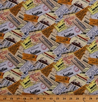 Cotton Train Tickets Railroads Railway Stubs Vintage Travel Locomotion Cotton Fabric Print by the Yard (B-9471-44)