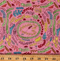 Cotton Pink Hearts Laurels Plants Laura Heine Cotton Fabric Print by the Yard (PWLH003.PINKX)