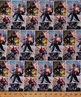 Cotton Movie Video Captain America Action Figure Multicolor Cotton Fabric Print by the Yard (71006-A620715)