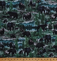 Cotton Black Bears Cubs North American Wildlife Animals Nature Northwoods Scenic Cotton Fabric Print by the Yard (NATURE-CD7563-MULTI)