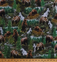 Cotton Brown Bears Grizzly Grizzlies North American Wildlife Animals Nature Northwoods Scenic Scenery Cotton Fabric Print by the Yard (NATURE-CD7562-MULTI)