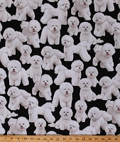 Cotton Dogs Bichon Frise Toy Dogs Animals Pets Canine Cotton Fabric Print by the Yard (GM-C7526 BLACK)