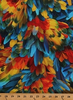 Cotton Feathers Colorful Parrots Birds Blue Orange Red Cotton Fabric Print by the Yard (R4688-304-PARROT)