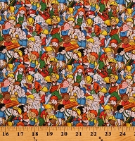 Cotton Workers Kids Children Working Construction Building 101 Cotton Fabric Print by the Yard (112-31261)