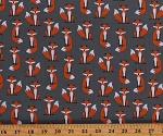 Cotton Fox Woodland Forest Animals Fabulous Foxes Grey Cotton Fabric Print by the Yard (AHE-15680-12GREY)