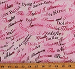 Cotton Ballet Classes Words Phrases Kids Pink Cotton Fabric Print by the Yard (9841P-02)