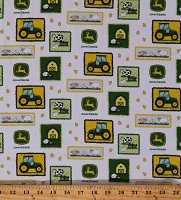Cotton John Deere Tractor Patches on White Farm Animals Barns Tractors Kids Cotton Fabric Print by the Yard (70168-G550715)