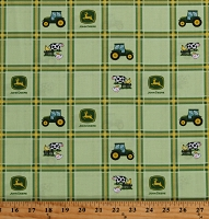 Cotton John Deere Plaid Green Tractors Logos Farmers Farming Farm Animals Kids Cotton Fabric Print by the Yard (70170-6470715)