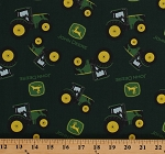 Cotton John Deere Tractors Allover Farming on Dark Green Cotton Fabric Print by the Yard (70219-6470715)