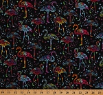 Cotton Flamingos Rainbows Stars Galaxy Cool Colorful Twinkle on Black Cotton Fabric Print by the Yard (BIRD-C7950-BLACK)