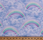 Cotton Pastel Rainbows Clouds Sky Blue Cute Calm Cotton Fabric Print by the Yard (SKY-C8046-BLUE)