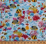 Cotton Fishes Coral Reefs Colorful Underwater Aquatic Blue Cotton Fabric Print by the Yard (SEA-C7960-MULTI)