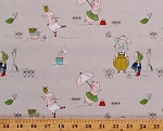 Cotton Hubert and Sorrel Cute Pink Pigs Summer Pails Umbrellas Gray Cotton Fabric Print by the Yard (C9091)