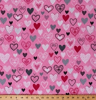 Cotton Heart Hearts Love Valentine Valentine's Day Knit Knitting Yarn on Pink Knit Together Cotton Fabric Print by the Yard (07873-02)