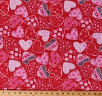 Cotton Heart Hearts Polka Dots Flowers Valentine Valentine's Day Love Tossed on Red Hearts of Love Cotton Fabric Print by the Yard (4374-88)