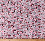 Cotton Love Hugs Kiss XOXO Heart Hearts Valentine's Day Hearts of Love Cotton Fabric Print by the Yard (4372-28)