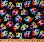 Cotton Soccer Balls on Black Allover Sports Neon Multi-Color Cotton Fabric Print by the Yard (C2376)