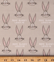 Cotton Looney Tunes Bugs Bunny Kids Animal Gray Cotton Fabric Print by the Yard (23600126-01)
