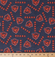 Cotton Bears Orange on Navy Cotton Fabric Print by the Yard (Z-12K)