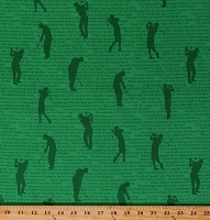 Cotton Golf Hole in One Golfing Phrases Sports Green Fabric Print by the Yard (36404-2)