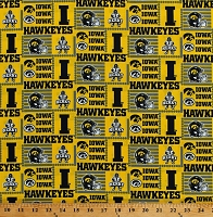 Cotton University of Iowa Hawkeyes Logos Mascot Herky Football Sports College Team Cotton Fabric Print by the Yard (IA-1134)