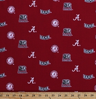 Cotton University of Alabama Crimson Tide Bama UA Logos on Red Herringbone NCAA College Sports Team Cotton Fabric Print by the Yard (AL-098)