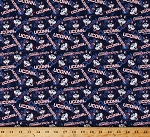 Cotton University of Connecticut UConn Huskies Logos Blue Tone on Tone College Sports Team Cotton Fabric Print by the Yard (CON-1178)