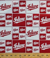 Cotton Indiana University Hoosiers NCAA College Sports Team Red White Cotton Fabric Print by the Yard (IND-020)