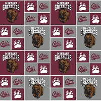 Cotton University of Montana Grizzlies Grizz College Sports Team Cotton Fabric Print by The Yard (mont020)