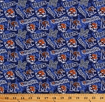 Cotton University of Memphis Tigers Logos Blue Tone on Tone College Sports Team Cotton Fabric Print by the Yard (1178-MEM)
