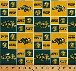 Cotton North Dakota State University Bison Green Yellow Squares College Sports Team Cotton Fabric Print by the Yard (NDSU-020)