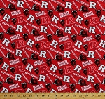 Cotton Rutgers University Scarlet Knights Logos Red Tone on Tone College Sports Team Cotton Fabric Print by the Yard (RUT1178)