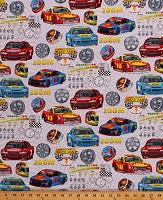 Cotton Race Cars Multi-Color Racing Vehicles Checkered Flags Race Car Drivers Helmets Speed Dials Transportation Sports Start Your Engines Cotton Fabric Print by the Yard (1746-9)