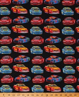Cotton Colorful Race Cars Vehicles Racing Sports Transportation Start Your Engines Black Cotton Fabric Print by the Yard (1747-99)