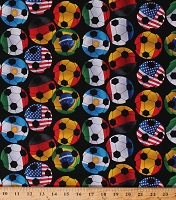 Cotton Multi-Color Soccer Balls Soccerballs Allover on Black Soccer Day Sports Cotton Fabric Print by the Yard (DT-3652-9C-2BLACK)