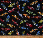 Cotton Racecar Cars Racing Vehicles Transportation Motor Sports Cotton Fabric Print by the Yard (CAR-C5401-BLACK)