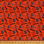 Cotton Syracuse University Logos Orange Tone on Tone College Sports Team Cotton Fabric Print by the Yard (SYR-1178)