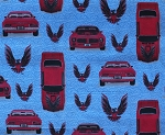 Cotton General Motors Trans Am Cars Firebird Blue Cotton Fabric Print by the Yard (15971-blu1)