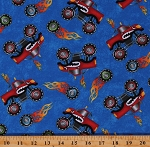 Cotton Monster Trucks Racecar Kids Blue Cotton Fabric Print by the Yard (9014-77)
