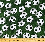 Cotton Soccer Ball Grass Sports Life Green Cotton Fabric Print by the Yard (SRKD-19491-47-GRASS)