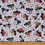 Cotton Golf Carts Transportation Travel Sports Golfing Back Nine White Cotton Fabric Print by the Yard (1386-01)