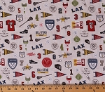Cotton Lacrosse LAX Motif Lacrosse Sticks Cleats Jerseys Varsity Gray Sports Cotton Fabric Print by the Yard (C7963-Gray)