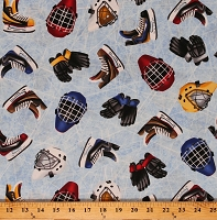 Cotton Hockey Gloves Ice Skates Sports Goalie Helmets Love of the Game Cotton Fabric Print by the Yard (1247-11)
